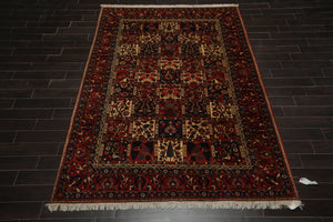 6x9 Peach, Warm Beige, Navy Color Hand Knotted Persian 100% Wool Traditional Oriental Rug