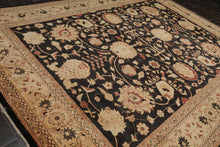 9x12 Dark Chocolate, Camel, Rust Color Hand Knotted Persian 100% Wool Peshawar Stone Wash Traditional Oriental Rug