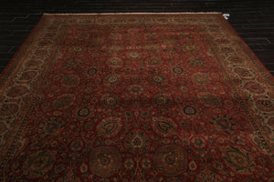 9x12 Rust, Tan, Green Color Hand Knotted Persian 100% Wool Sarouk Traditional 250 KPSI Oriental Rug