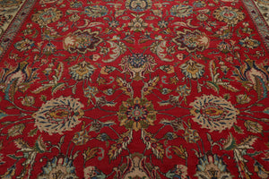 9x12 Red, Ivory, Blue Color Hand Knotted Persian 100% Wool Tabriz Traditional Oriental Rug
