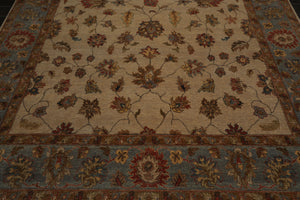 9x12 Beige, Blue, Rust Color Hand Knotted Persian 100% Wool Agra Traditional Oriental Rug