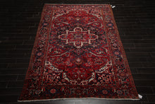8x10 Red, Charcoal, Ivory Color Hand Knotted Persian 100% Wool Heriz Traditional Oriental Rug