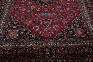 8x10 Ruby Red, Black, Ivory Color Hand Knotted Persian 100% Wool Khorassan Traditional Oriental Rug