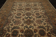 9x12 Beige, Gold, Aqua Color Hand Knotted Persian 100% Wool Agra Traditional Oriental Rug