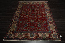 9x12 Red, Ivory, Blue Color Hand Knotted Persian 100% Wool Tabriz Traditional 200 KPSI Oriental Rug