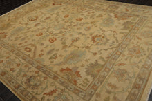 9x12 Warm Beige, Sage, Aqua Color Hand Knotted Persian 100% Wool Oushak Traditional Oriental Rug
