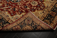 9x12 Burnt Orange, Navy, Beige Color Hand Knotted Persian 100% Wool Peshawar Traditional Oriental Rug