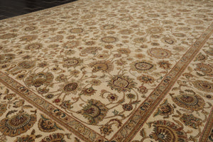 9x12 Beige, Tan, Green Color Hand Knotted Persian 100% Wool Agra Traditional Oriental Rug