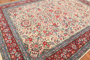 "9' x 12'6"" 300 KPSI Kum Hand Knotted 100% Wool Persian Oriental Area Rug"