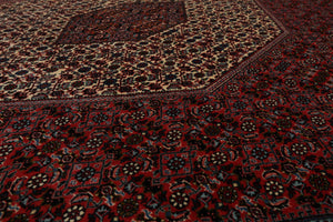 8x10 Red, Rust, Black Color Hand Knotted Persian 100% Wool Bidjar Traditional 300 KPSI Oriental Rug