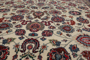 8x10 Ivory, Navy, Red Color Hand Knotted Persian 100% Wool Mashad Traditional Oriental Rug