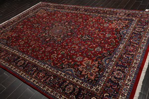 8x10 Red, Navy, Ivory Color Hand Knotted Persian 100% Wool Mashad Medallion Traditional Oriental Rug