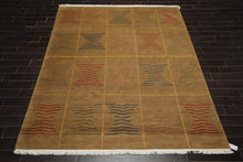 8x10 Brown, Gold, Red Color Hand Knotted Tibetan 100% Wool Modern & Contemporary Oriental Rug