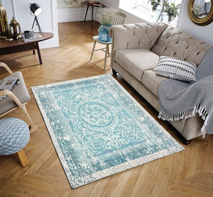 4' x6'  Aqua Beige Color Machine Made Micro Printed Cotton Modern & Contemporary Oriental Rug