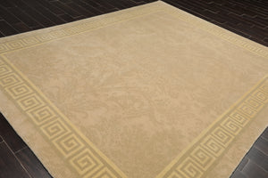 8x10 Beige, Gray, Light Gold Color Hand Knotted Tibetan 100% Wool Traditional Oriental Rug