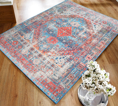 5' x7'  Aqua Rust Color Machine Made Micro Printed Cotton Modern & Contemporary Oriental Rug