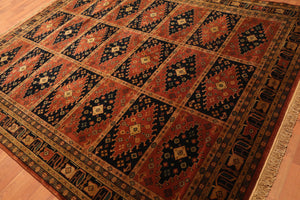 "7'9""x9'9"" Hand Knotted Tea Wash 100% Wool Persian Oriental Area Rug Traditional"