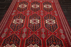 6x9 Red, Black, Cream Color Hand Knotted Persian 100% Wool Traditional 200 KPSI Oriental Rug