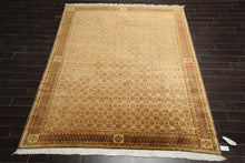 8x10 Brown, Gold, Burnt Orange Color Hand Knotted Tibetan 100% Wool Traditional Oriental Rug