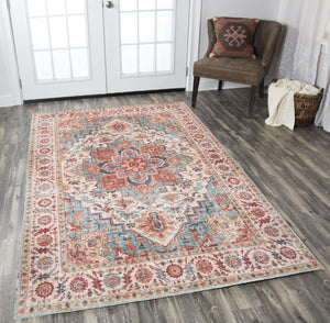 4' x6'  Beige Aqua Rust Color Machine Made Micro Printed Cotton Traditional Oriental Rug