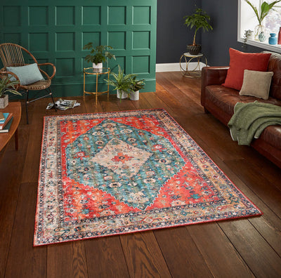 5' x7'  Teal Orange Gold Color Machine Made Micro Printed Cotton Modern & Contemporary Oriental Rug