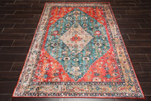 5x7 Modern & Contemporary High Sheen Non-Skid Backing Oriental Area Rug Teal,Orange Enigma