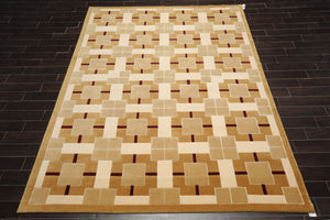 8x10 Brown, Tan, Cream Color Hand Knotted Tibetan Wool and Silk Modern & Contemporary Oriental Rug