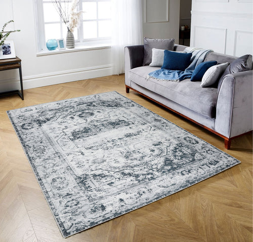 5' x7'  Tone On Tone Gray Color Machine Made Micro Printed Cotton Modern & Contemporary Oriental Rug