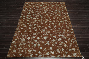 8x10 Brown, Bluish Gray, Color Hand Knotted Tibetan Wool and Silk Floral Traditional Oriental Rug