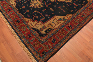 "7'9""x9'9"" Hand Knotted Heriz Medallion Tea Wash Wool Persian Oriental Area Rug"