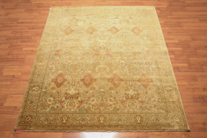 "8'1""x9'8"" Green  Rust Beige, Aqua, Muted Earth Tones Color Hand Knotted Persian Oriental Area Rug Wool Traditional Oriental Rug"