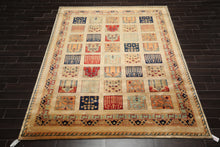 8x10 Hand Knotted Persian 100% Wool Traditional Oriental Area Rug Tan, Aqua Color