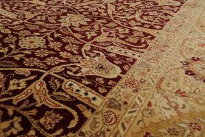 8x10 Hand Knotted Persian 100% Wool Traditional 200 KPSI Oriental Area Rug Maroon, Tan Color