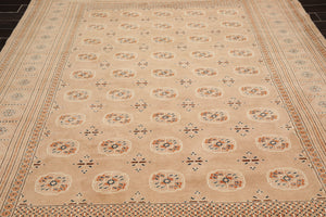 8x10 Hand Knotted Persian 100% Wool Traditional 200 KPSI Bokhara Oriental Area Rug Apricot, Ivory Color
