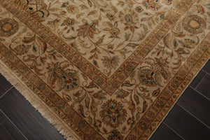 8x10 Hand Knotted Persian 100% Wool Agra Traditional 200 KPSI Oriental Area Rug Dirty Beige, Tan Color