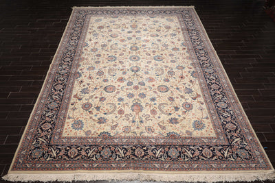 10' 9''x15' 7'' Cream Navy Peach Color Hand Knotted Persian 100% Wool Traditional Oriental Rug