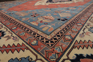 "6'10""x10' Ivory Burgundy Blue, Navy, Aqua, Green, Multi Color Hand Knotted Persian Oriental Area Rug Wool Traditional Oriental Rug"