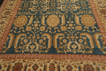 8x10 Hand Knotted Persian 100% Wool Traditional Sultanabad Oriental Area Rug Teal, Gold Color