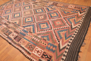 "7'9""x13' Rust Brown Beige, Olive, Chocolate, Blue, Green, Multi Color Hand Knotted Kilim Persian  Area Rug Wool Traditional Oriental Rug"