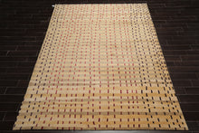 8x10 Hand Knotted Tibetan Wool and Silk Modern & Contemporary Oriental Area Rug Tan, Beige Color