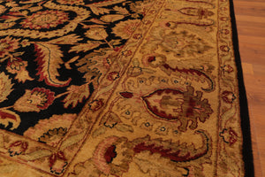 "8'x10'3"" Black Gold Burgundy, Rust, Tan, Multi Color Hand Knotted Persian Oriental Area Rug Wool Traditional Oriental Rug"