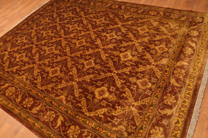 "7'6""x9'5"" Brown Gold Green, Rust, Multi Color Hand Knotted Persian Oriental Area Rug Wool Traditional Oriental Rug"