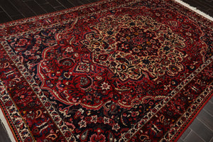 8x10 Hand Knotted Persian 100% Wool Bhakhtiari Medallion Traditional Oriental Area Rug Red, Beige Color