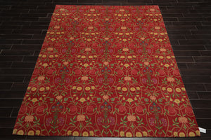 8x10 Hand Knotted Persian 100% Wool Floral Traditional Oriental Area Rug Coral, Green Color