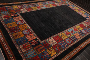 8x10 Hand Knotted Persian 100% Wool Gabbeh Traditional 200 KPSI Oriental Area Rug Charcoal, Gold Color