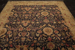 8x10 Hand Knotted Persian 100% Wool Agra Traditional 250 KPSI Oriental Area Rug Charcoal, Olive Color