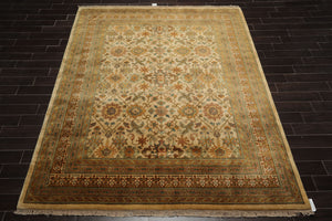 8x10 Hand Knotted Persian 100% Wool Agra Traditional Oriental Area Rug Light Gold, Brown Color