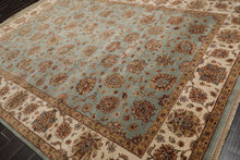 9x12 Hand Knotted Persian 100% Wool Agra Traditional 200 KPSI Oriental Area Rug Aqua, Ivory Color