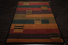 9x12 Hand Knotted Tibetan 100% Wool Modern & Contemporary Oriental Area Rug Gold, Rust Color