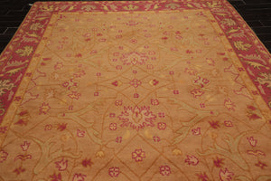 9x12 Hand Knotted Persian 100% Wool Arts and Craft Traditional Oriental Area Rug Peach, Gold Color